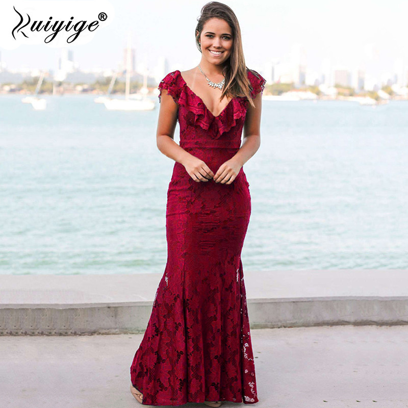 Ruiyige Women Elegant Floor-Length Maxi Lace V-neck Dresses With Trumpet Backless Ladies Dress For Evening Party Festa Vestido