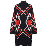 SRUILEE Retro Heart Jacquard Dress 2018 New Winter Turtleneck Striped Robe Women Dress Hem Split Pullovers Knit Vestido Runway