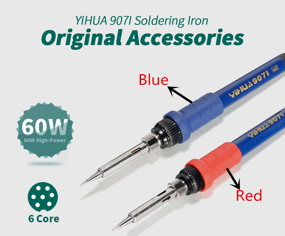 YIHUA 907I Soldering Iron For Welding Machine Tools Red 995D/995D+ Soldering Iron handle, Blue for 862BD+/899D+and so on. dhl yihua 995d soldering station used for motherboard repair tools 1pc