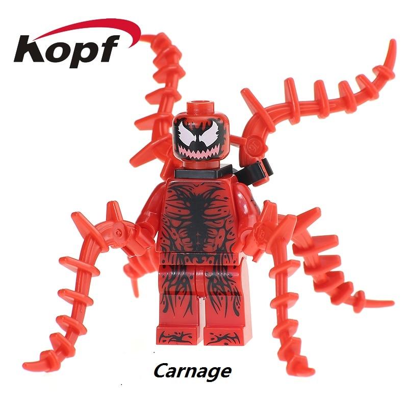 Single Sale Super Heroes Carnage Spider-Man Spiderman Spider Man Bricks Action Figures Building Blocks Toys for children XH 659 пластилин spider man 10 цветов
