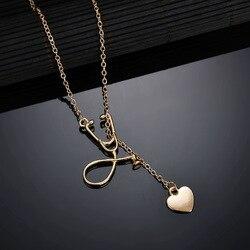 Moda simples ysterious doutor enfermeira estetoscópio modelo coração pingente sexy clavícula corrente colar feminino