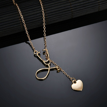 simple fashion ysterious doctor nurse Stethoscope model heart pendant sexy clavicle chain Necklace women