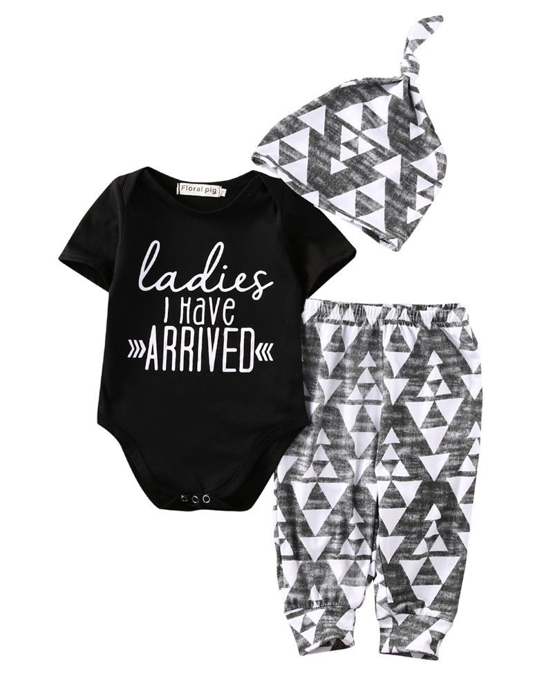 Newborn Baby Girls Summer Romper Bodysuit+Leggings Hat Clothes Outfit Set