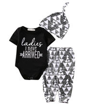 Ladies I Have Arrived Newborn Baby Boy Romper Top Pants Leggings Hat Outfits Set Clothes Short Sleeve Clothing Summer Cotton
