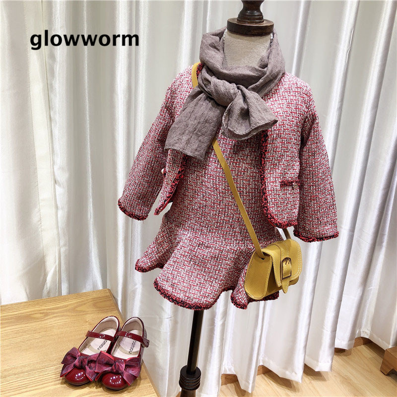 Glowwormkids Autumn Winter Girl Suit Jacket Princess Skirt Suit Two-piece Kids Suit Tweed Childrens Clothing Long Sleeve hs102