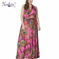 Nemidor 2017 Hot Sales Women Sexy V Neck Beach Print Dress Plus Size 7XL Sleeveless Patchwork