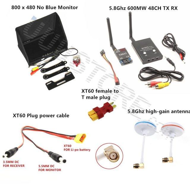 fpv combo system 5 8ghz 600mw transmitter receiver no blue monitor for xiao  yi camera gopro sj4000 qav250 dji phantom quadcopter