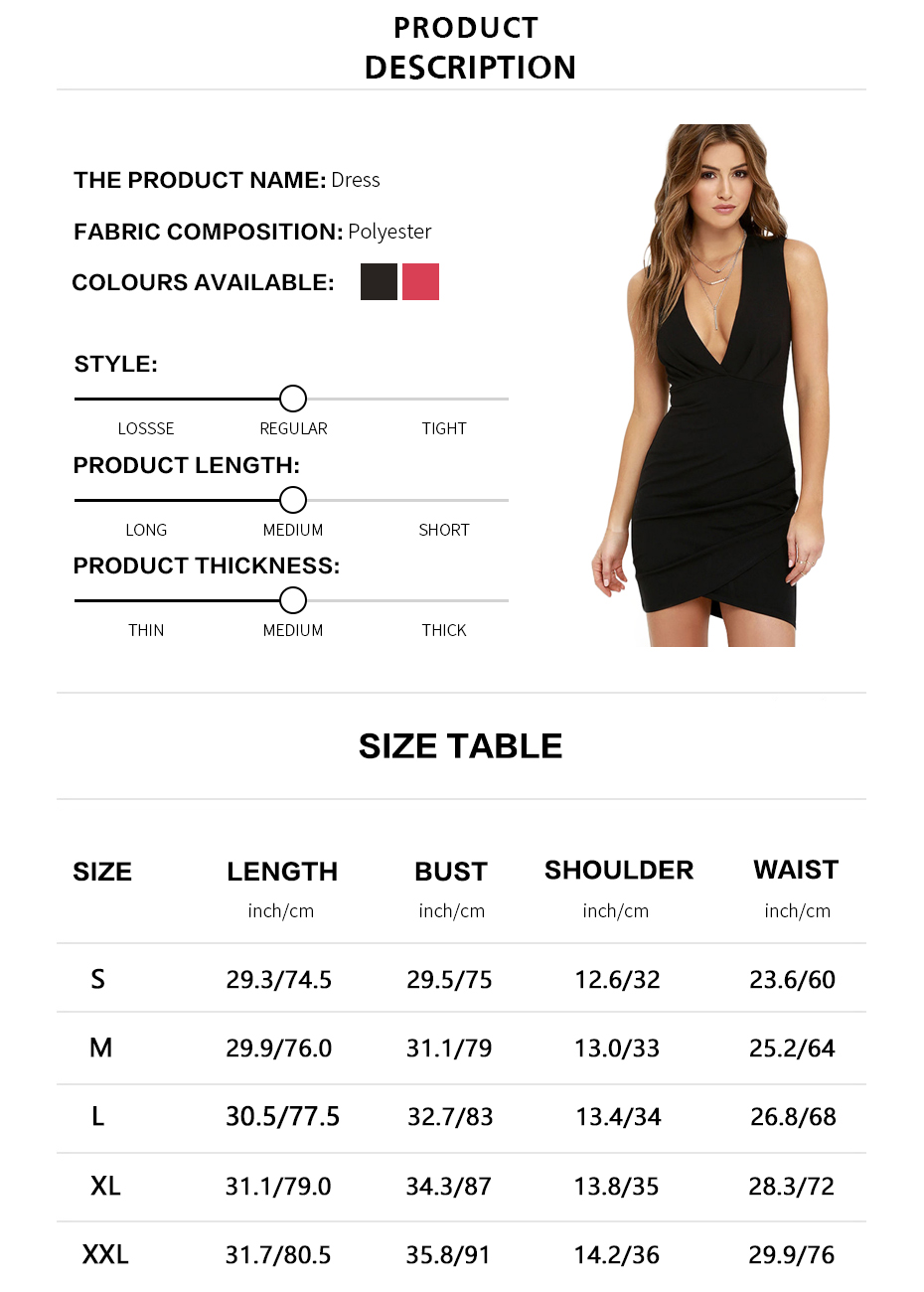 Brand Name: HaoduoyiMaterial: Polyester,SpandexStyle: Sexy & ClubSilhouette: AsymmetricalPattern Type: SolidSleeve Length: SleevelessDecoration: NoneDresses Length: Above Knee, MiniSleeve Style: TankWaistline: NaturalNeckline: V-NeckSeason: SpringModel Number: 162519699Gender: WomenColor: Black/RedSize: S M L XL XXLAge Group: AdultIs Customized: Yes
