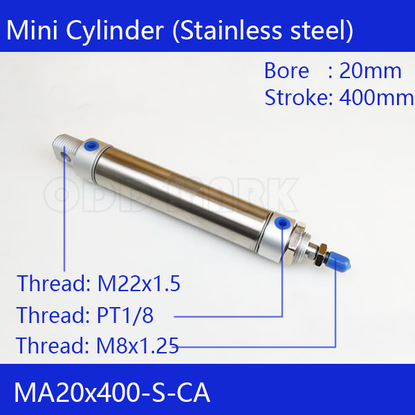 Free shipping Pneumatic Stainless Air Cylinder 20MM Bore 400MM Stroke , MA20X400-S-CA, 20*400 Double Action Mini Round Cylinders free shipping pneumatic stainless air cylinder 16mm bore 150mm stroke ma16x150 s ca 16 150 double action mini round cylinders