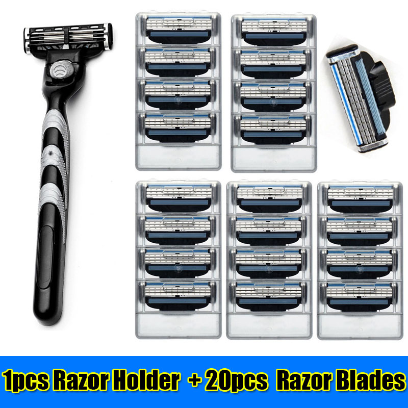 20 pcs Razor Blades + 1 Pcs Razor Holder Manual Shaver 3 Lays