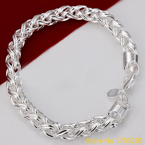 Fashion Solid Silver Plated Knotted Chain Bangle Bracelet Nice Gift For Boyfriend 4tyz In Link Bracelets From Jewelry Accessories On
