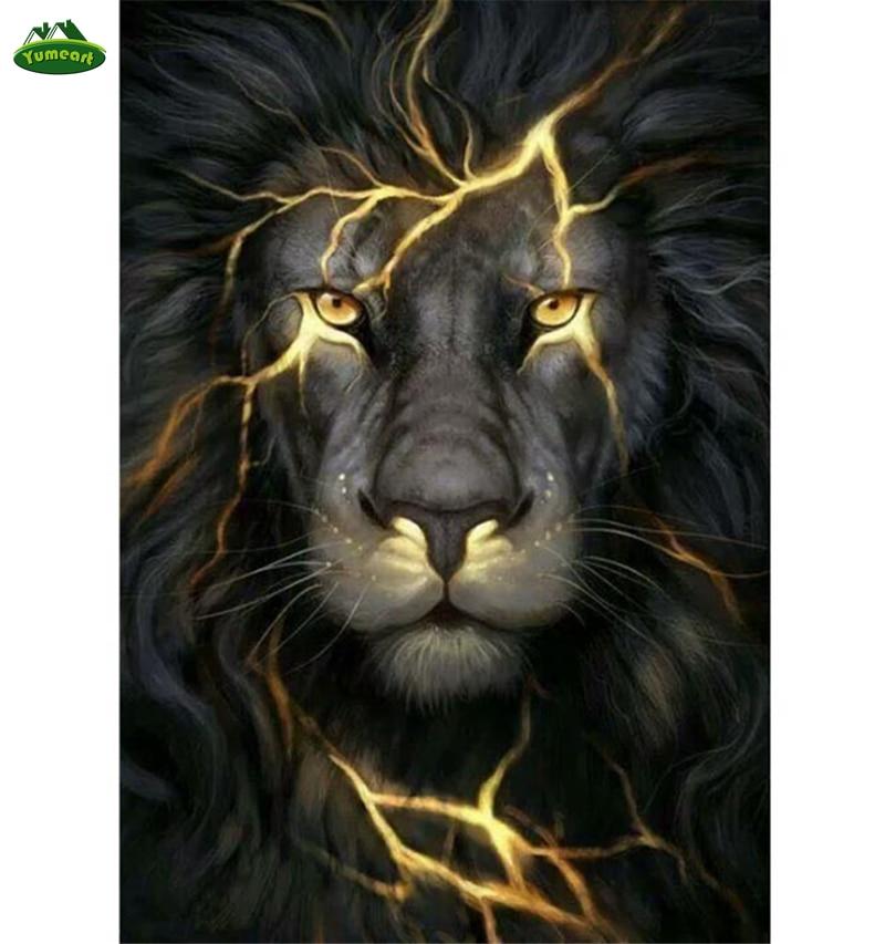 Yumeart Diy Diamond Painting Black Lion Lightning Face Diamond