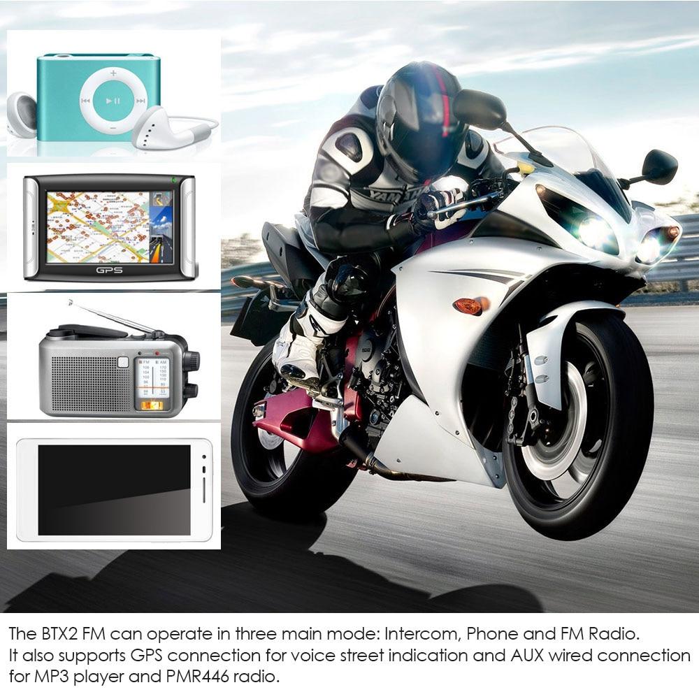 2 Sets BTX2 FM Motorcycle Helmet Headset Bluetooth Intercom 800M ...
