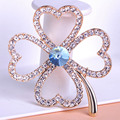 Blucome Brand Clover Women Gold Flower Crystal Brooches Pin Up Accessories Wedding Jewelry Broche Leaf Blue Green Broach Mix Lot