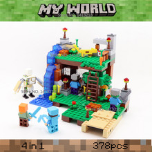378pcs 4 in 1 MY WORLD legoelied Steve Alex Iron Golem Zombie Minecrafted Minifigures Building Blocks Bricks Set Gift Toy Boy