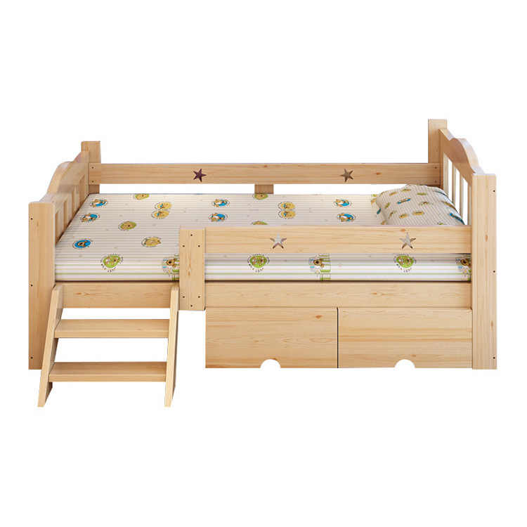 ... Solid Wood Childrenu0027s Bed With Fence Simple Moder Student Single Bed  Childrenu0027s Furniture Crib Durable Pine ...