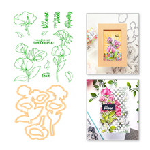YaMinSanNiO Flower Metal Cutting Dies Leaves Rubber Silicone Stamps Scrapbooking Photo Album Embossing Stencil and