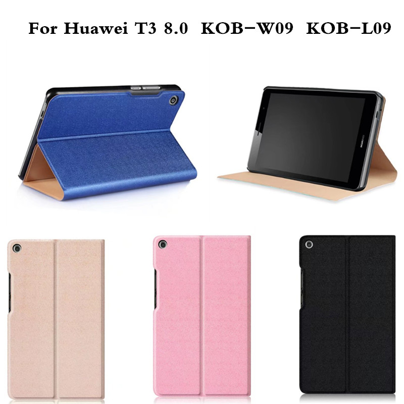 Fashion Multi angle Slim Flip Stand PU Leather With PC Back Cover For Huawei Mediapad T3 8.0 inch KOB-W09  KOB-L09 Tablet Case mediapad m3 lite 8 0 skin ultra slim cartoon stand pu leather case cover for huawei mediapad m3 lite 8 0 cpn w09 cpn al00 8