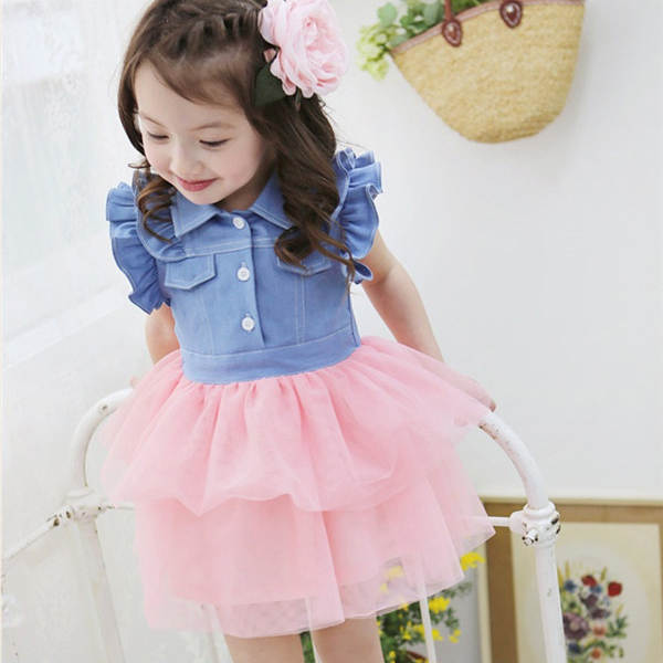 5e2dd4ffd62 Toddler Kids Girls One Piece Ruffled Lace Dress Denim Gauze Baby Tutu  Vestidos 2 7Y-in Dresses from Mother & Kids on Aliexpress.com | Alibaba  Group