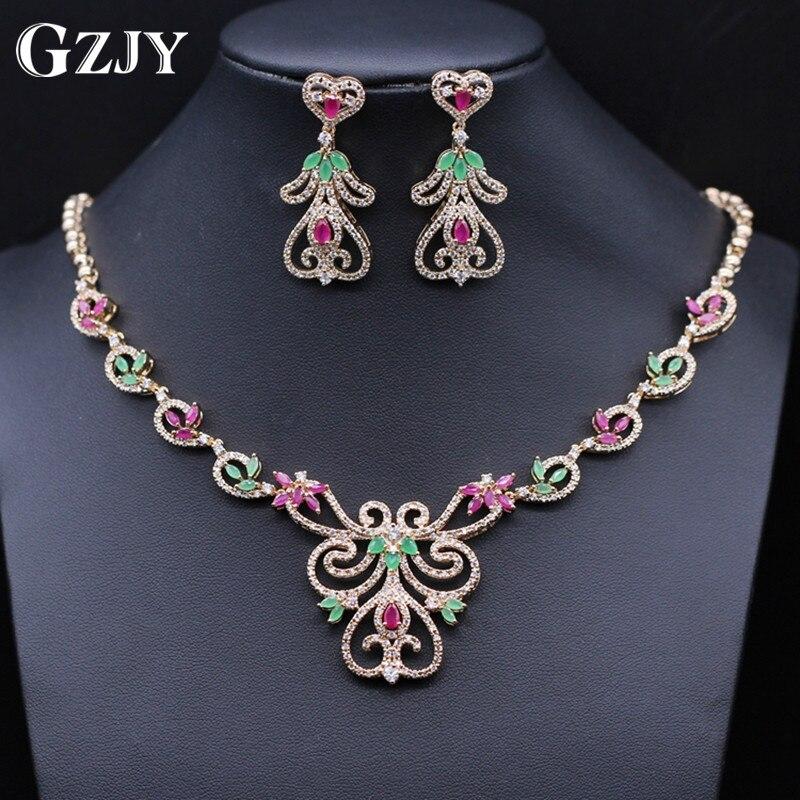 GZJY bijoux de luxe couleur or AAA Zircon collier boucles d'oreilles de mariée de mariage bijoux ensemble pour les femmes 5 couleurs