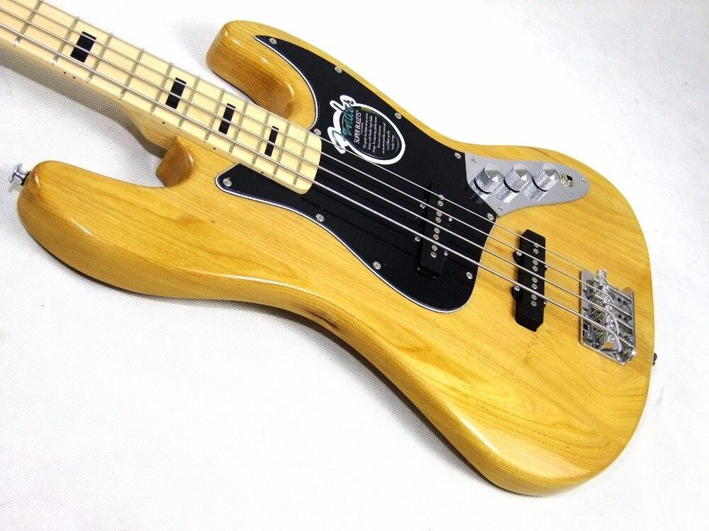 Naturel 4 Cordes Basse Électrique Guitare avec noir Pickguard, Manche érable jazz Bass guitare offrant des services personnalisés