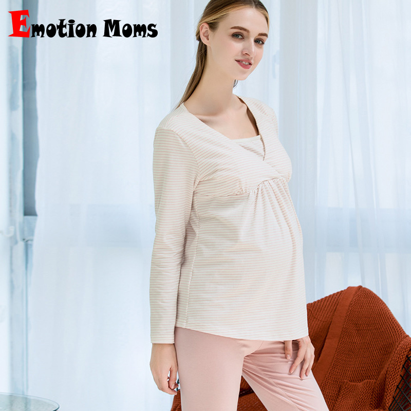 Emotion Moms maternity clothes Pregnancy Pajamas Nightwear nursing sleepwear Sets breastfeeding Pajamas Suit for pregnant women