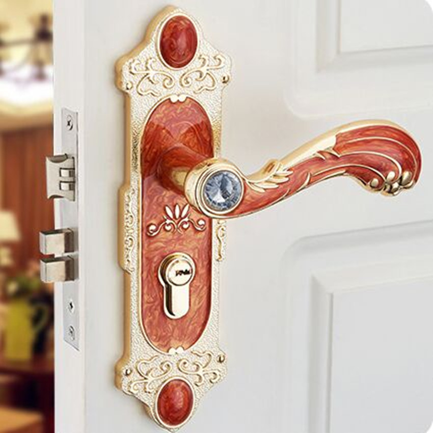 European style glass crystal room wooden handle lock switch indoor wood decoration wooden door locks amber white / red locks entrance door handle solid wood pull handles pa 377 l300mm for entry front wooden doors