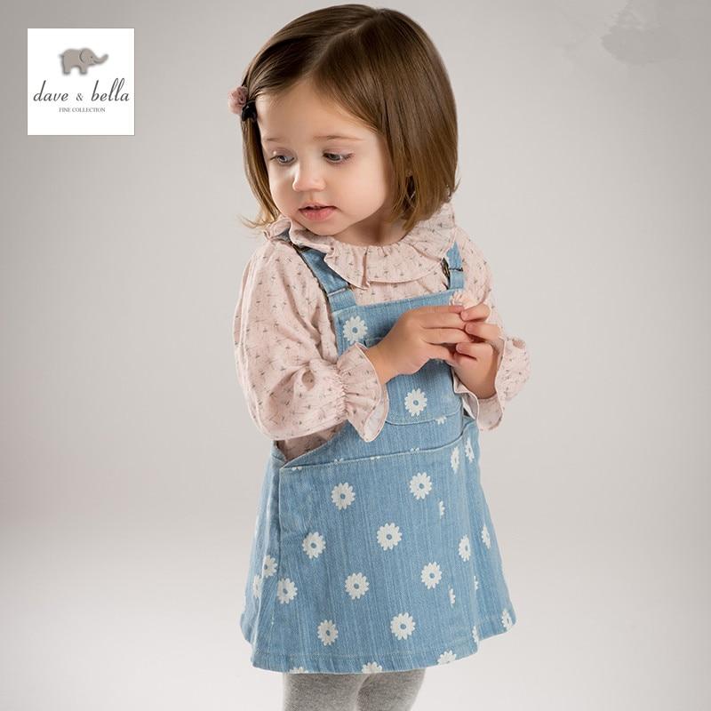 DB4882 dave bella bebê menina do verão vestido de princesa suspender macacão roupas jeans meninas denim vestido