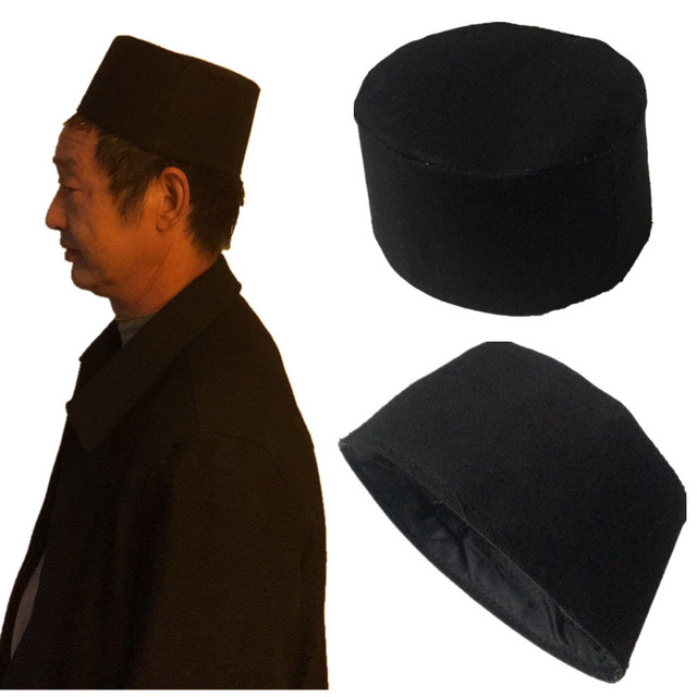 e4bf01de4dfb Black Cotton Mens islamic Muslim Prayer Hat Kufi Skull Cap Beanie Egyptian  khanqahi Turkish Caps