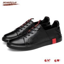 DENGKELAI Мужская обувь Кроссовки качество удобные дышащие мужские туфли 100% мягкая резиновая подошва пояса из натуральной кожи повседневная