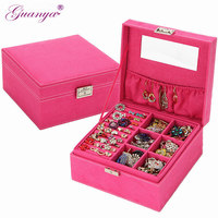 New women high quality velvet two layers necklace rings etc makeup organizer Cube jewelry display/jewelry boxes for girls 705