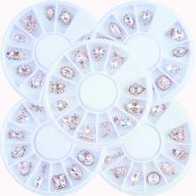 1 Wheel 12 Styles Crystal rhinestone alloy nail art charms AB crystal Japanese Trend Metal New Charm Nail Art #ZP101#