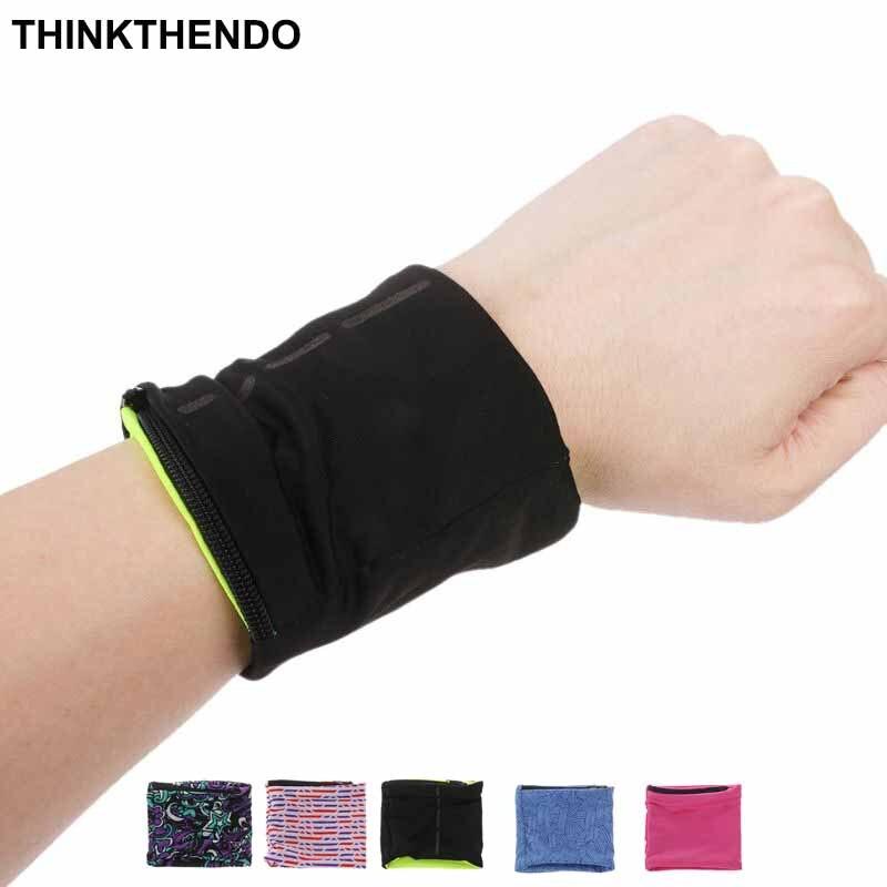 Unisex Zipper Workout Wristband Pouch Sports Wrist Pocket Wallet Safe Sport Bag