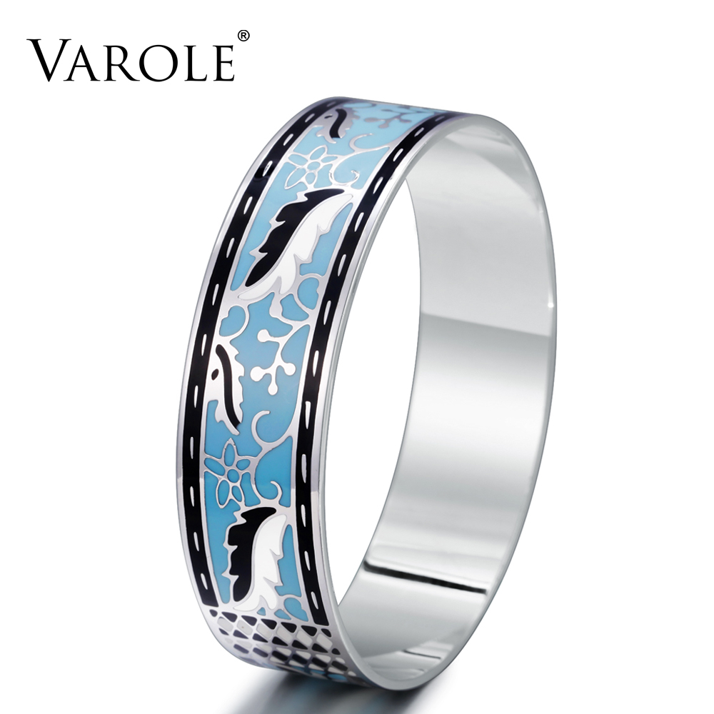 VAROLE 18mm Width Enamel Copper Jewelry Bracelets Color Design Trendy Pattern Bangles Jewelry Accessories Cuff Bangle for Women trendy graffiti pattern and tassels design satchel for women