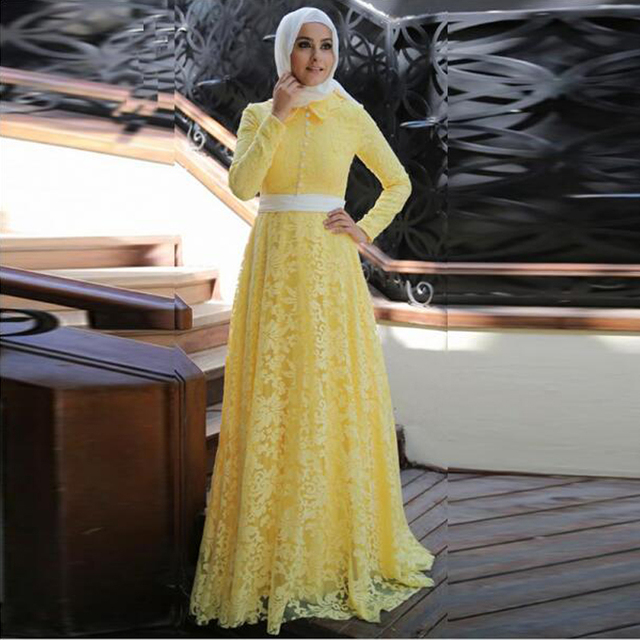 Elegan Renda Panjang Kuning Gaun Malam Jilbab Muslim Timur
