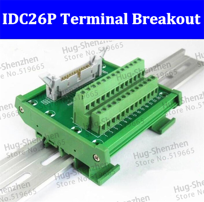 IDC26P IDC 26 Pin Male Connector to 26P Terminal Block Breakout Board Adapter PLC Relay Terminals DIN Rail Mounting Shell--5pcs 1756 tbch ab plc module controllogix 36 pin terminal block