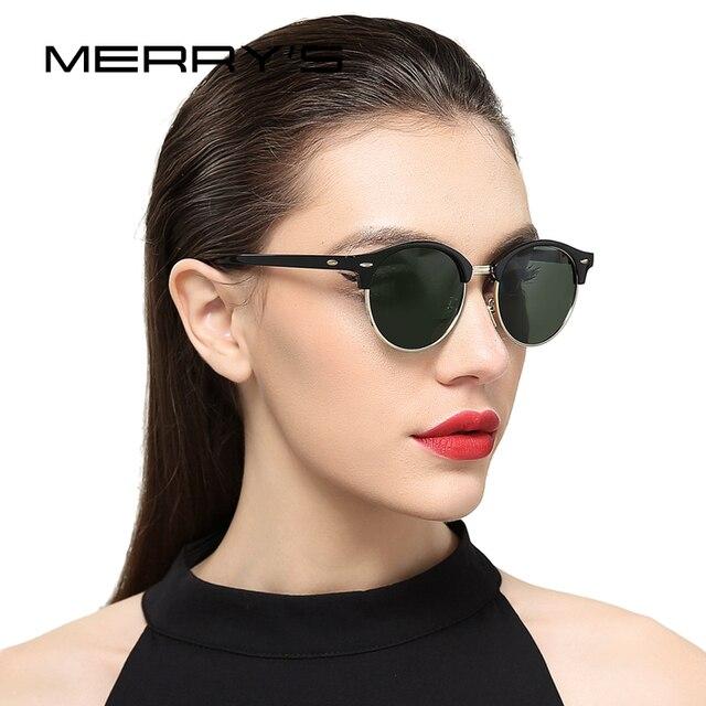 MERRY S Mode Demi-Trame lunettes de Soleil Femmes Marque Conception Vintage  Rivet Unisexe lunettes de 9eae1f8f24e0