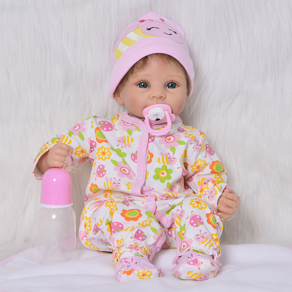 55 CM Realistic Babies Reborn Dolls Toy For Girl Silicone Vinyl 22'' Newborn Doll Cloth Body 2018 Christmas Gift Kid Playmates original hand made chinese doll qing dynasty empresses 12 jointed doll 1 6 bjd dolls toy for girl christmas gift brinquedo
