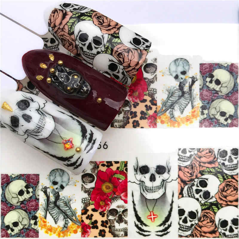 ZKO 1 Sheet Halloween Nail Art Sticker Sexy Skull Bone Water Transfer Decals Nails Foil Manicure Decoration