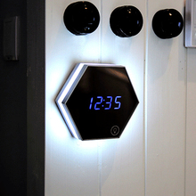 LED Night Multifunction Electronic Light Wall Clock Mirror Digital Display Alarm Clock Snooze Light-emitting Thermometer