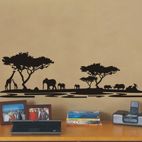 Free Shipping Landscape Large Africa Animal Forest Tree Wall Stickers Glass Decals Covering Home Decor Decoration