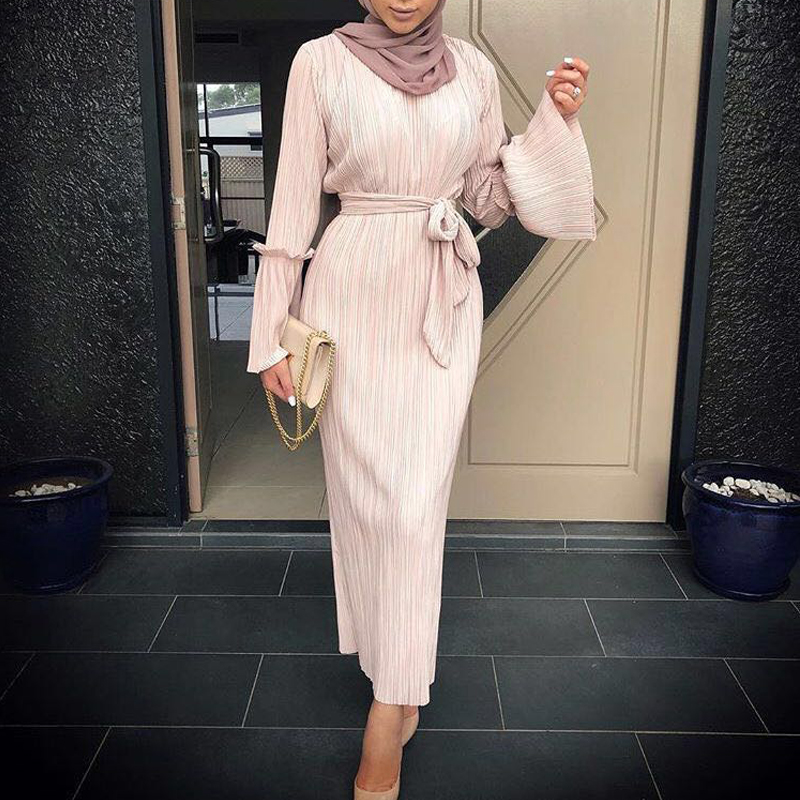 Vestidos 2019 UAE Kaftan Abaya Dubai Arabic Long Bandage Pleated Maxi Hijab Muslim Dress Women Jilbab Turkish Islamic Clothing