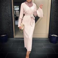 Vestidos 2019 UAE Kaftan Abaya Dubai Arabic Long Bandage Pleated Maxi Hijab Muslim Dress Women Jilbab Turkish Islamic Clothing