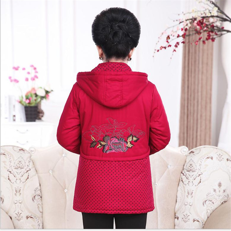 Green Jacket Blue Women 4xl navy 2018 Mid Down Winter Q868 Hooded age Plus Dot Fashion Mother red Embroidery Cotton Size Jackets Parkas Polka BqWHafxCaw