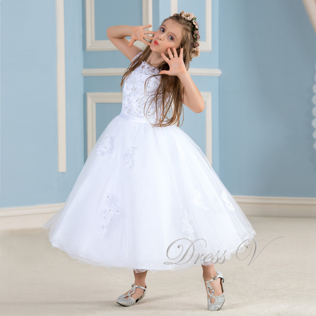 22f5ee72bb14 Lovely White Flower Girl Dresses To First Communion Lace Applique Ivory Dress  Girls Pageant Baby Party Gowns Kids Frock Designs