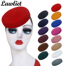 Circle Wool Felt Pillbox Hats  Beret Hat for Women Millinery Fascinator Hat Base Cocktail Party Hats A215