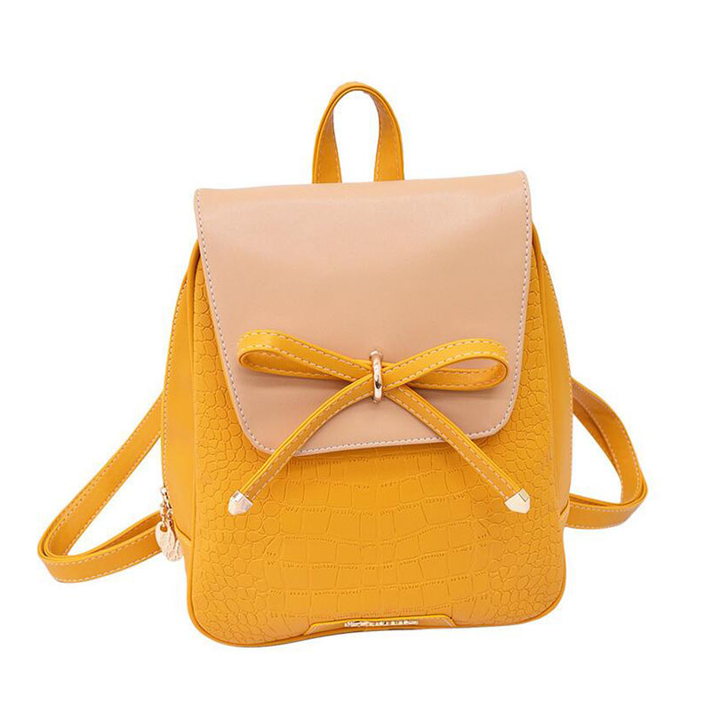 2017 women backpacks bow brand pu leather backpack travel casual ...