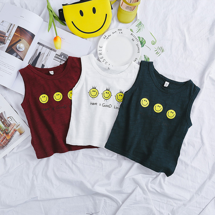 Hot Selling 2018 Kid Vest Summer Fashion Sleeveless Boys Girls Unisex Letter Print Tops Cartoon tshirt White New Arrival T85909A