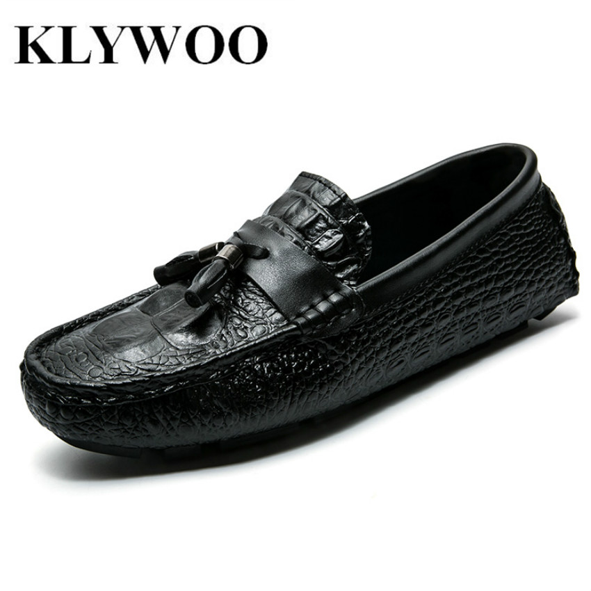 KLYWOO Crocodile Pattern Casual Shoes Men Big Size 45 Leather Men Shoes Moccasins Loafers Fashion Brand Men Flats Driving Shoes klywoo plus size 38 46 men loafers leather shoes fashion mens casual driving boat shoes slip on handmade new shoes men moccasins
