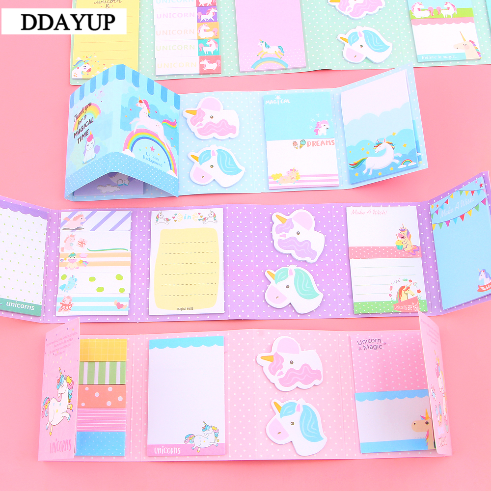 Lovely Cute Unicorn Party 6 Folding Memo Pad N Times Sticky Notes Memo Notepad Bookmark Gift Stationery
